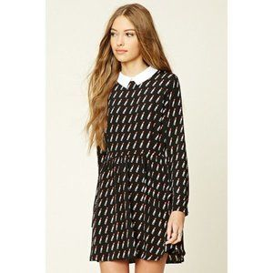 FOREVER 21 A-LINE COLLARED DRESS W/ LIPSTI…